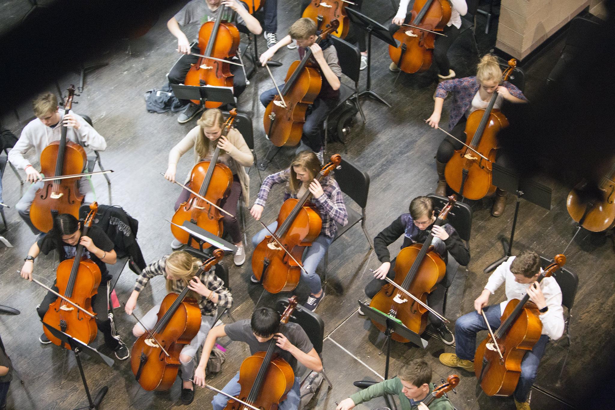 cellos in orchestra class